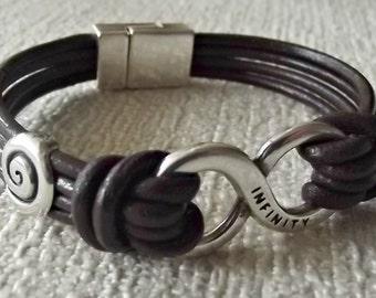 Infinity leather bracelet, leather bracelets, infinity jewelry, men infinity leather,  men leather bracelet, friendship bracelet