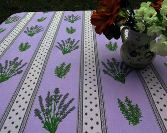 square tablecloth up to 60'' by 60'', oilcloth, cotton coated . Fabric from Provence , France . Lavender in Purple