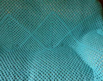 Crocheted Bedspread /Twin Quilt / Bedroom Decor / Cotton Quilt / Crochet Afghan / Warm Blanket / Throw / Handmade Bedspread / Blue Blanket