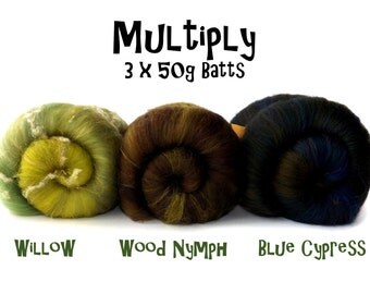 Spinning batts - Multi pack - 3 X 50g batts - ply packs - Willow/Wood Nymph/Blue Cypress - MULTIPLY