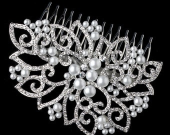 Bridal Hair Comb Side Comb Crystal Pearl Comb Silver White Pearl & Rhinestone Hair Slide Comb