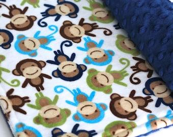 On Sale!**Monkey Baby Blanket-Double Minky Blanket-Baby Boy-Baby-Urban Zoologie