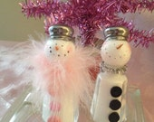 Recycled repurposed salt and pepper shakers elegant snow couple