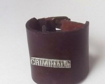 Vintage Mens Brown Leather Cuff Bracelet, Men's Leather Cuff