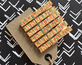 6 full size wooden clothes pegs, multi coloured, gold flecks, washi tape, wooden clothes pegs