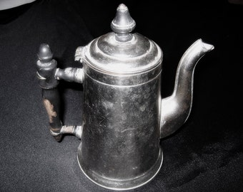 Vintage Silver Colored Coffee Pot Rustic Country Decor