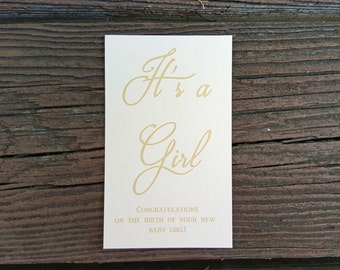 It's a Girl Congratulations Card - Baby Shower - Pink, Blush and Gold