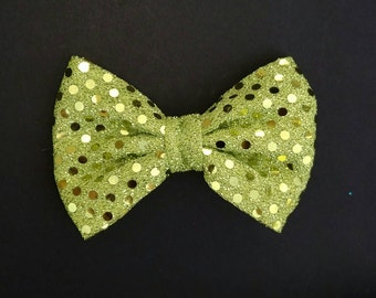 Green Sequined Large Bow By KareBow