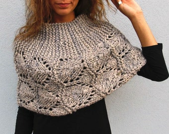 Knit Capelet Cape Autumn Wrap Winter Cover up Spring Shrug Grey Ladies Crocheted Shawl Handknit Accessories Blueish-Grey Marble