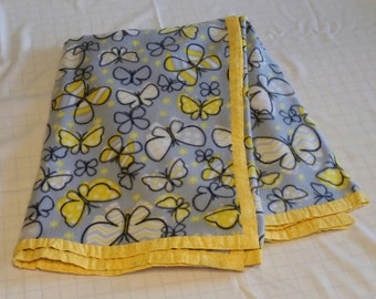 """Hand Crafted Gray and Yellow Butterflies Fleece Blanket 44"""" X 63""""  NEW"""