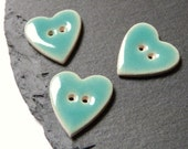 Pack Of 3 Ceramic Buttons Heart Shaped Turquoise