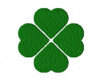Four leaf lucky clover machine embroidery design 3 inch instant download