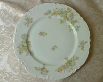 Haviland Limoges France Teal Pink Green Floral Dinner Plate