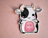 Kawaii chibi baby cow sticker - cute art farm animal planner stationery