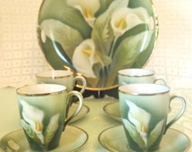 Antique Tea Set - Demitasse or Chocolate Tea Cup & Saucer Set with Cake Plate - Green with Calla Lily Hand Painted | Circa 1905 | Tea Party