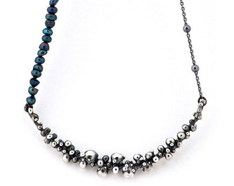 Unique necklace with black pearls and sterling silver - adjustable