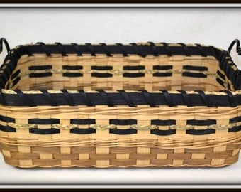 """Hand Woven Counter Basket or Tray with Wood Base and Wrought Iron Handles - """"Iris"""""""