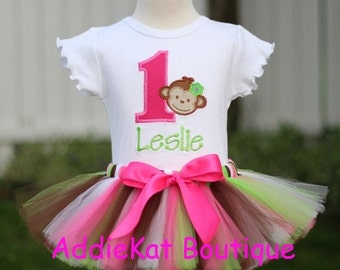 Personalized Pink and Lime Green Mod Monkey First Birthday Tutu Outfit