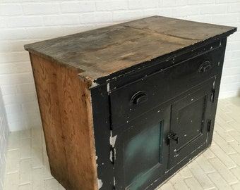 Vintage Wood Kitchen Cabinet Large Heavy Black Distressed Chippy Storage
