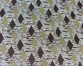 3 Yards Diamond Print Double Knit Polyester Fabric Brown Beige and White Harlequin Pattern Medium Weight Stretch 57 x 108