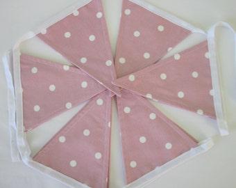 Large handmade polka dot fabric bunting