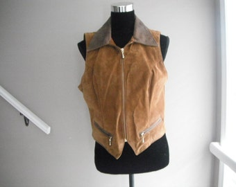Woman's leather vest, Suede and Leather, Western Vest