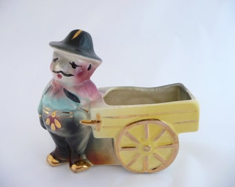 Vintage Cactus Planter, Mexican Man with Cart,