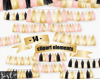 Tassel clipart in pink. gold and black. Tinsel and ribbon clipart kit.