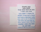 """Thank You Card, Funny Card - """"Owe You One"""""""