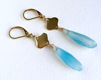 Aqua Blue Chalcedony Pendant Earrings by KarenWhalenDesigns