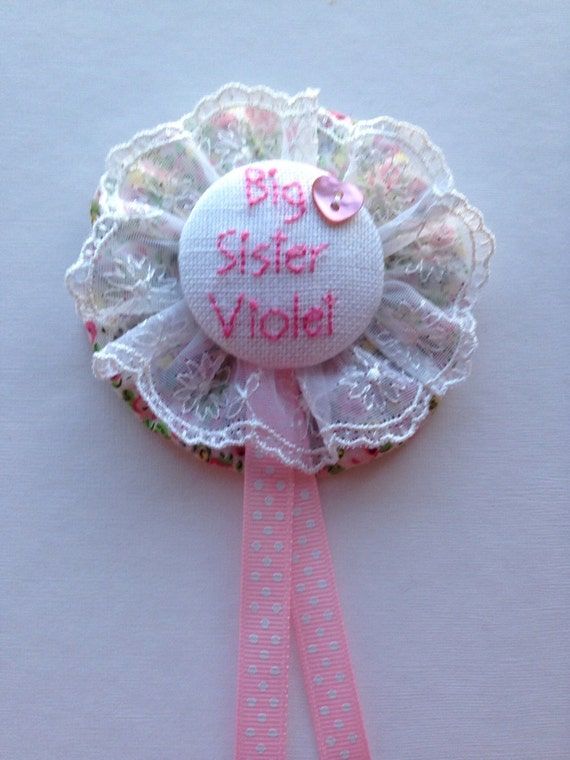 Personalised Hand Embroidered Rosette Style Name Badge