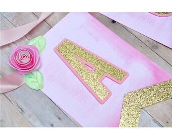 Pink and Gold Glitter Banner