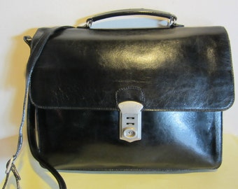 Vintage black leather handbag, small briefcase model