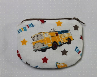 Fire truck Zipper pouch, coin purse