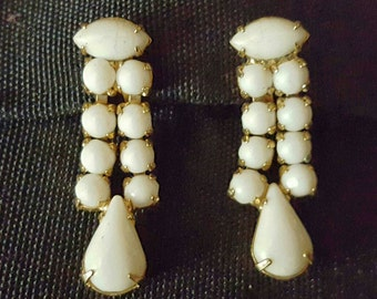 Vintage Milk Glass Earrings, White, 1960s Estate, Signed, Gold Tone Screw Back, Mid-Century