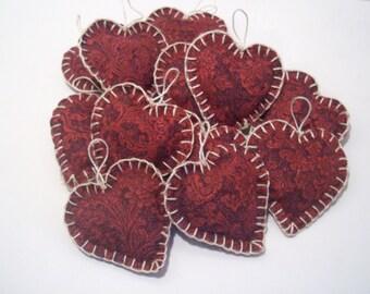 Handmade Fabric Hearts, Wedding Supplies, Party Supplies, Party Decor, Wedding Decor, Red, Cottage Chic, Custom Orders,
