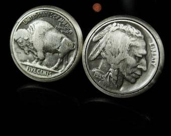1935 Buffalo nickel Coin Cufflinks vintage wedding dates anniversary or birthday nickel cuff links Foster Shirt Accessory