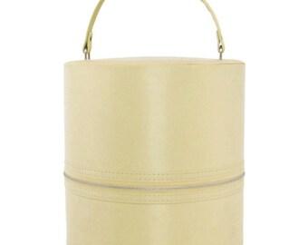 Vintage beige  zippered hat/ wig box