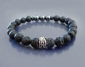 Mens beaded bracelet Skeleton bracelet Black lava bracelet Sterling silver skeleton hand bracelet Mens black bracelet mala Wrist mala beads