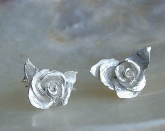 Sterling Silver Roses. PMC Stud Earrings - Roses.