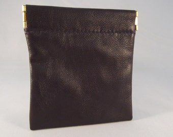 Black Leather Spring Top Purse/Squeeze Top Purse