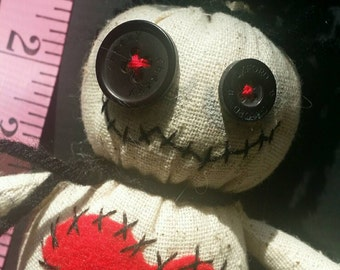 Mojo doll - red heart, button flower