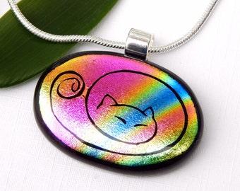 Cat Pendant - Dichroic Glass Pendant - Fused Glass Jewelry - Rainbow Art Glass Kitty Necklace - Feline Jewelry