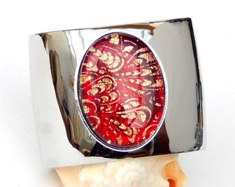 Red and Gold Dichroic Glass Cuff Bangle - Fused Glass Statement Jewelry - Red Art Glass Bracelet