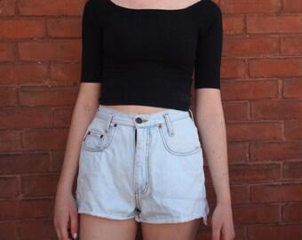 Light Wash Vtg High Waist Jean Shorts