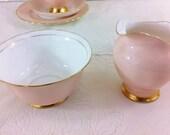 Baby Pink Vintage Creamer and Sugar Bowl, Tuscan China