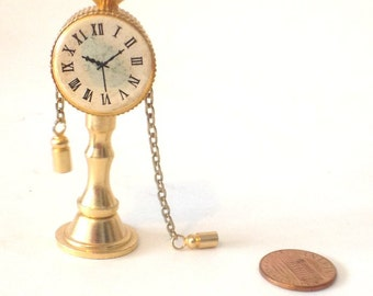 Brass Miniature Dollhouse figurine furniture collectible -Clock Ships free with any other shop purchase