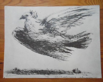 """Vintage Pablo Picasso """"The Dove"""" Print 1967 SPADEM Paris #280 Black and White from Crayon  12 5/8"""" X  9 1/2"""" Heavy Paper Collectible Art"""