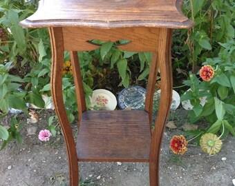 Vintage Primitive Arts Crafts Mission Oak Wood Pedestal Table Plant Stand