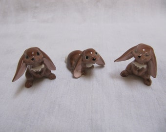 Vintage Hagen Renaker Brown Rabbit Lop Ear Trio Miniature